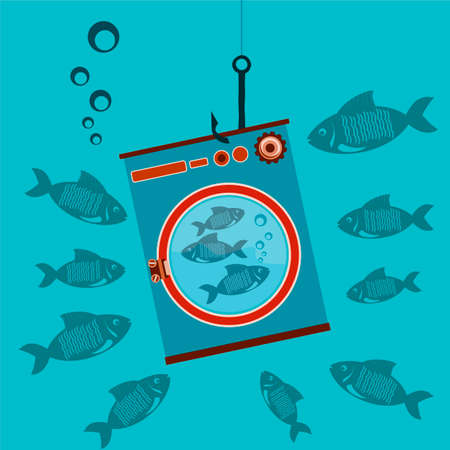 shocking: The washing machine is on the hook under water with the fishes, shocking, surprise Illustration