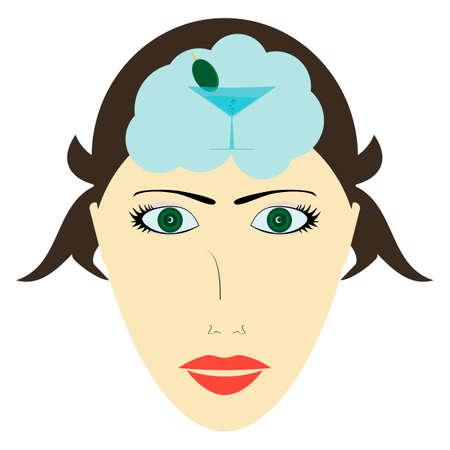 Femme aux yeux verts pense à un verre de Martini avec une olive verte. Réflexions sur la fête, le plaisir, le sexe. Banque d'images - 47379630