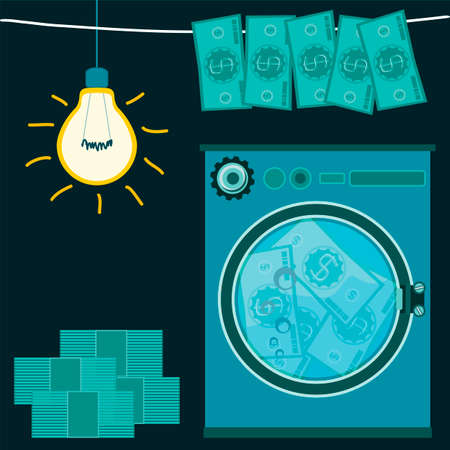 laundering: Washing money in a washing machine in a dark room with a light bulb. The dollars laundering, financial crime