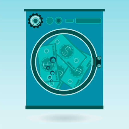 laundering: Washing money in a washing machine. The dollars laundering, financial crime Illustration