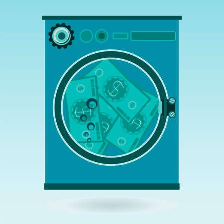 laundering: Washing money in a washing machine. The dollars laundering, financial crime Illustration