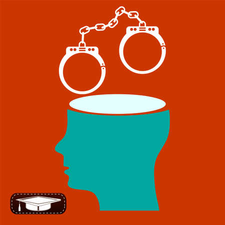 object oppression: Crime and punishment, criminal thoughts, the handcuffs in an open head Illustration