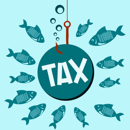 hide: Tax ball on a fishing hook underwater with the fishes. Hide taxes, financial crimes. Illustration