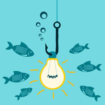 pescando: Bombilla en un anzuelo de pesca luces bajo el agua, cebo para los peces. Atraer inversores, impactante, el estudio del mundo submarino.