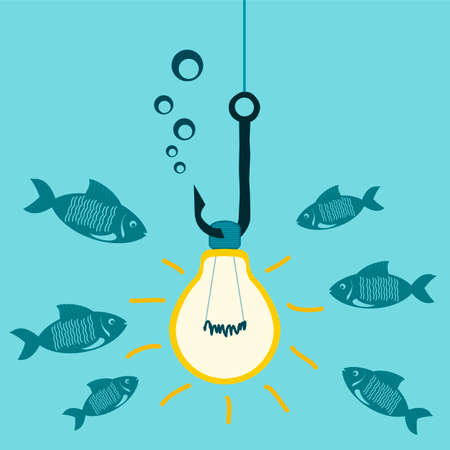fishing bait: Light bulb on a fishing hook underwater lights, bait for fish. Attracting investors, shocking, study of the underwater world. Illustration