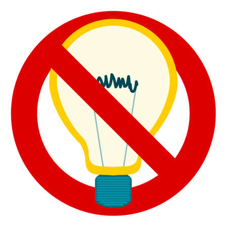 filament: Light bulb filament, stop sign, forbidden, no. Forbidden to think, no new ideas. Not to turn on the light. Illustration