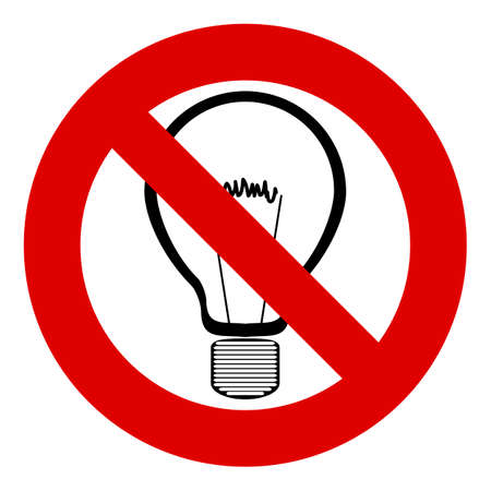 filament: Light bulb filament, stop sign, forbidden, no. Forbidden to think, no new ideas. Not to turn on the light. Black silhouette on white.