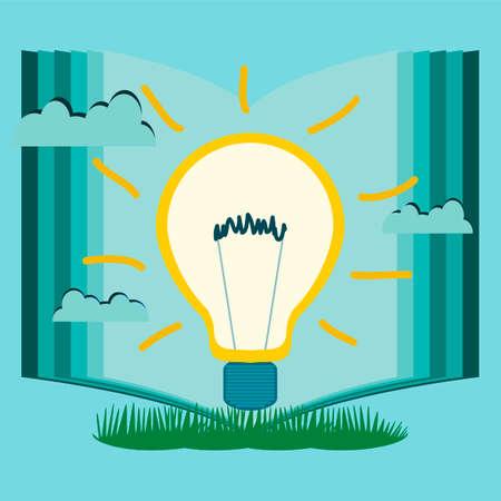 educacion ambiental: bombilla eléctrica en el fondo de un libro abierto en la naturaleza. Nuevas ideas, la creatividad, el conocimiento, la educación, la innovación, la inversión en protección del medio ambiente. Vectores