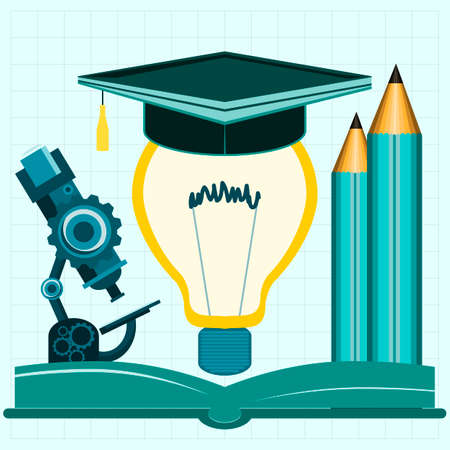 filament: Light bulb filament with hat graduate, pencil and microscope on an open book. Brainstorming, education and training, a workplace of a genius, the factory of ideas, creativity