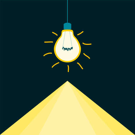 Light bulb filament shines in the darkness, the triangle of light. Illustration