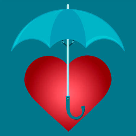 under heart: Red heart under the umbrella. To protect health, save love.