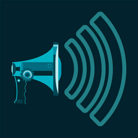dissemination: Megaphone symbol with sound waves. Media, information dissemination, meeting, alarm. Illustration