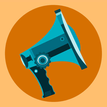 dissemination: Megaphone symbol in a yellow circle. Media, information dissemination, meeting, alarm.