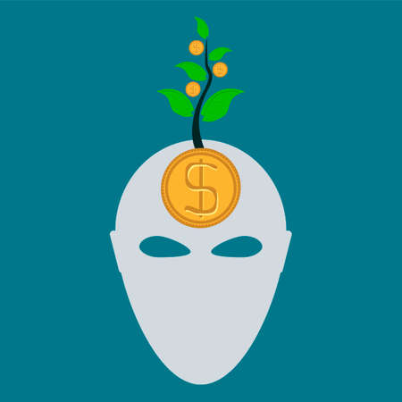 emolument: Golden dollar coin in head. From  head grows a money tree. Thoughts about Investing, making a profit. Illustration