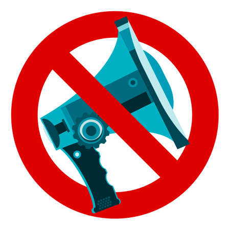 sign not to talk by phone: Do not speak icon. The symbol of the megaphone. No, Stop, forbidden, banned.