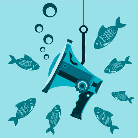 censorship: Megaphone under water on the hook with the fish. The closure of media outlets. Censorship. The prohibition of informing. Be silent as a fish.