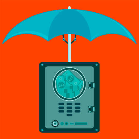 savings problems: Bank safe,vault with dollar bills inside under an umbrella. Protection for cash deposits, banking.