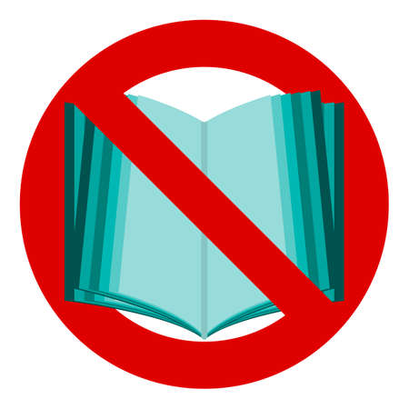 banned: Do not read icon. The symbol of the open book. No, Stop, banned. Reading is forbidden. Illustration
