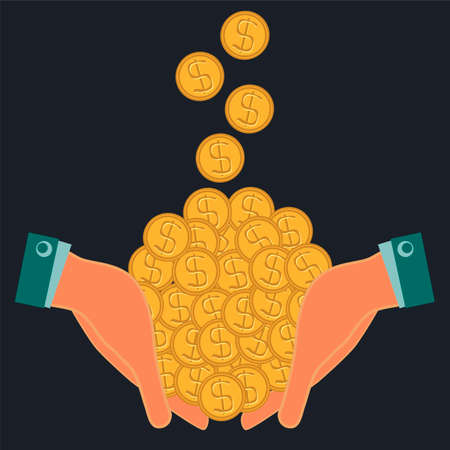 money falling: Gold dollar coins, money falling into the hands. Profit, increase wealth. Payment is in cash. Illustration