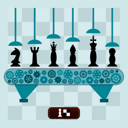 chess board: The machine makes the chess pieces. Set of chess pieces on a chess Board.