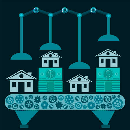 buying a home: The machine makes a home from dollar bills. Investments in real estate, buying a home, mortgages.