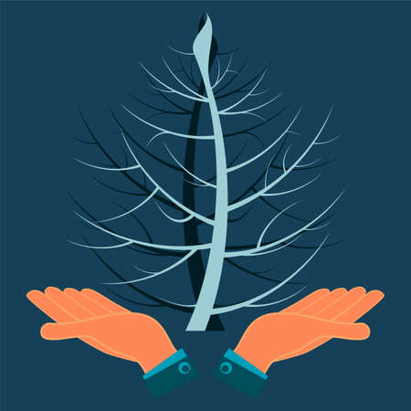 ecological disaster: Two twisted tree in his hands. Ecological disaster, pollution of nature.