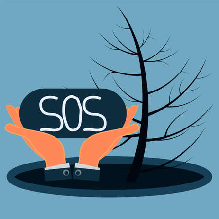 environmental disaster: The sign SOS in the hands. Puddle of oil and dry wood. Environmental disaster, the pollution by oil products. Illustration