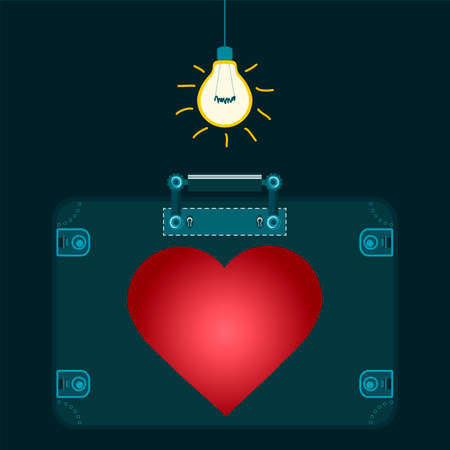 to conceal: Red heart in a suitcase under the electric light bulb. The love of travel. The transportation of human organs. Illustration