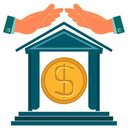 possession: The building of the Bank and hands over him with a gold dollar coin inside. Insurance cash deposits, protection. The possession of money Deposit. Investment in real estate. Banking. Illustration