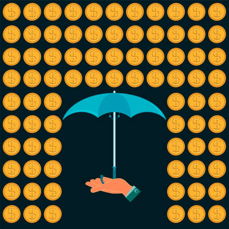 expansion: Rain of gold dollar coins and an umbrella in his hand. Protection against dollar expansion.