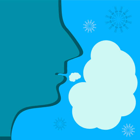 steam mouth: Steam from the mouth in cold weather. Speech bubble and snowflakes.