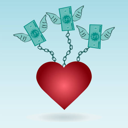 love of money: Dollar bills with wings chained to the red heart. The love for money.