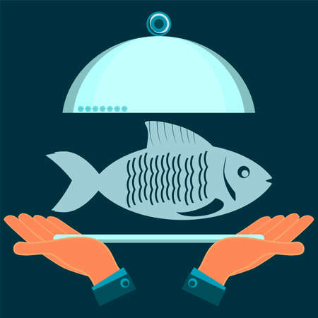 delectable: Hands holding a serving plate with the fish. The dish in the restaurant, a fish lunch.