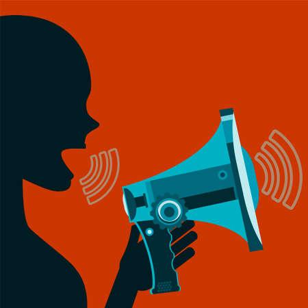 agitation: Woman screaming in megaphone. Agitation, demonstration, propaganda. Speech at the rally.