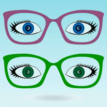 eye glasses: Women eye glasses. Green and blue eyes.
