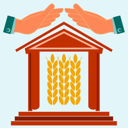 house exchange: Hands protect the house with ears of wheat. Warehouse for storing grain. Exchange of grain. Investments in agriculture. Illustration