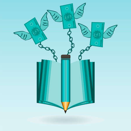 cost of education: Dollar bills with wings chained to an open book. The inaccessibility of education. The high cost of education. Library for money, paid reading. Illustration