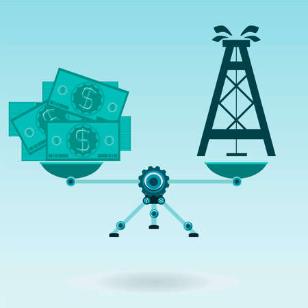 raw material: Dollar bills and oil rig on the scales in balance. Sell oil for money. Raw material exchange.