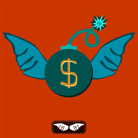 exchange rate: A bomb with a lit fuse and wings. The dollar symbol. The unpredictability of the exchange rate. Inflated the dollar.