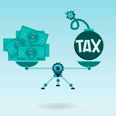 pay bills: Dollar bills and the bomb tax on the scales in balance. The high tax. To pay the taxes. Taxes or business.