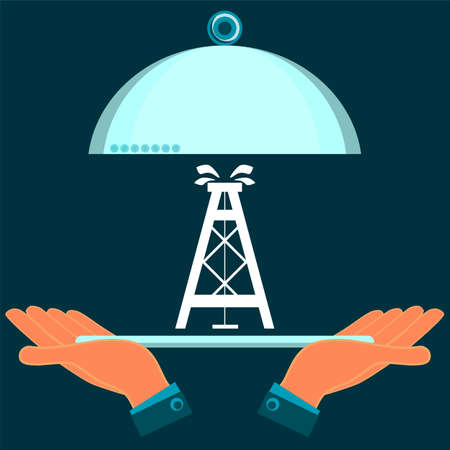 extraction: Hands holding a serving dish with the oil rig. Investment in mineral extraction. Illustration