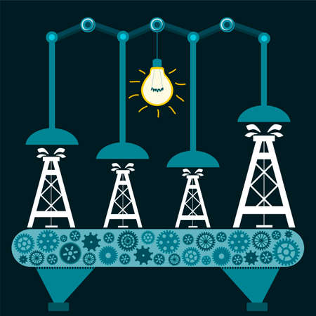 extraction: The machine produces Oil rig in a dark room with a light bulb. Illegal Extraction of oil. Investment in mineral extraction. Petroleum exchange.