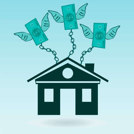 borrowing money: Dollar bills with wings chained to the house. Mortgages, high rents.