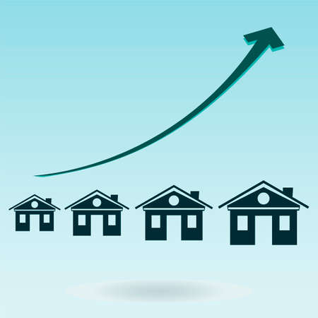 housing estate: The symbol of the house with the growth chart. Mortgages, real estate investment, housing.