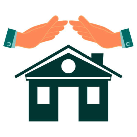 keep in: The symbol of the house keep hands. Investments in real estate, construction. Property insurance. Protection, conservation house. Illustration
