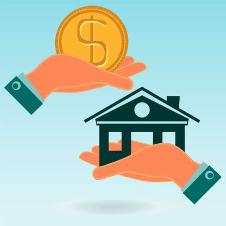 housing prices: House and dollar coin in his hands. Investments in real estate, construction. Buying a home for the money. Property insurance. Illustration