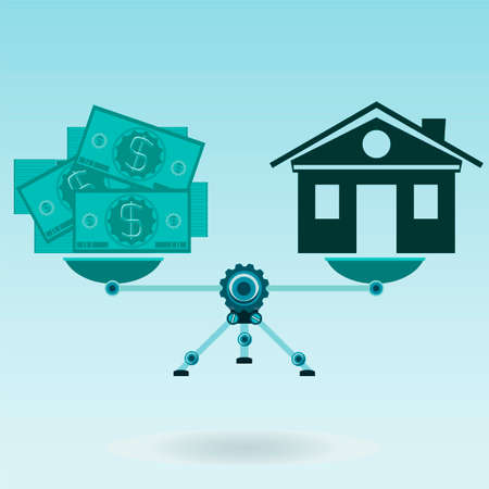 House and dollar bills on the scales in balance. Investments in real estate, construction. Pokupka home. Property insurance.