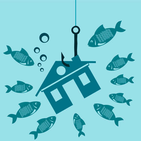 housing crisis: The symbol of the house on a hook under water with the fish. Investments in real estate, construction. The lure for a mortgage. The crisis, the debt for housing. Illustration
