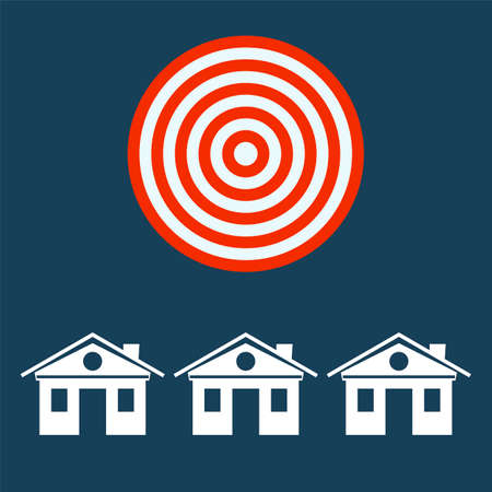 abode: The symbol of the house under the sign of the target. Investments in real estate, construction. Illustration