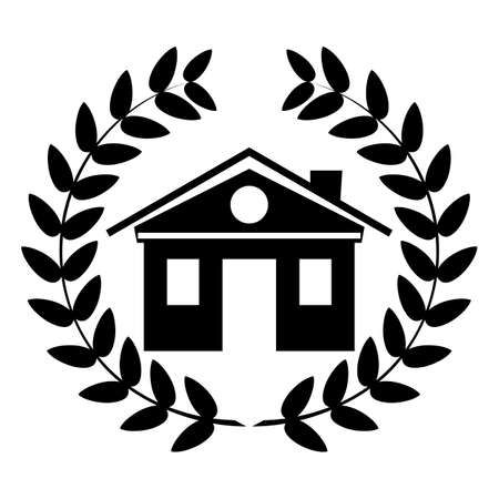 first house: Black and white house logo in a Laurel wreath. Illustration